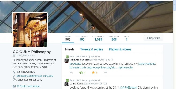 1,000 Twitter Followers for @CUNY_Philosophy!